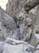 Rock Climbing Photo: Looking down from the top of the first chock-stone...
