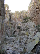 Rock Climbing Photo: Looking up from the top of the first chock-stone. ...