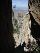 Rock Climbing Photo: Looking out of the chute from just below the chimn...