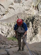 Rock Climbing Photo: Myself heading down the second (double rope) rappe...