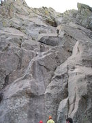 Rock Climbing Photo: Looking up at our rappel route (South Face Direct)...