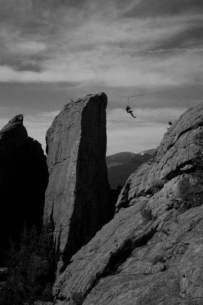 Rock Climbing Photo: Falling on that highline will get the blood flowin...