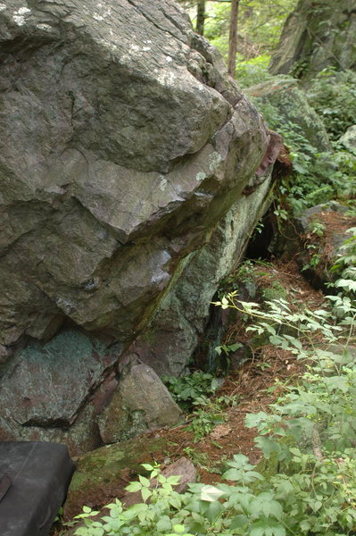 Rock Climbing Photo: Right side of the boulder, including 'Moo Stache'.