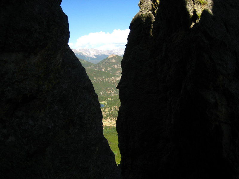 Looking north toward Estes Park, from the Alcove between Half & Half Crag, and Woodstone.