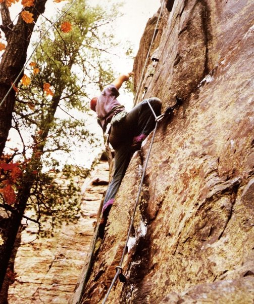Tommy nailing RURPS and pins on All the Way, first ascent.