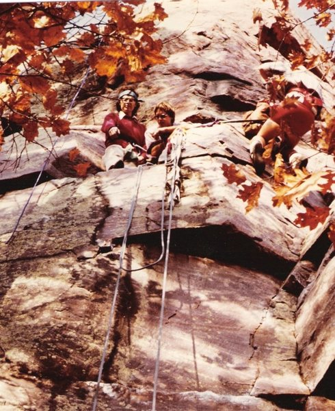Rock Climbing Photo: Pete and Tommy celebrate up on FUBAR ledge, after ...