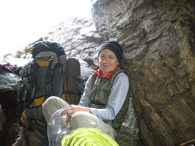 happy and tired back at the bivy