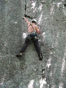 Rock Climbing Photo: Nick sewing it up