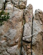 Rock Climbing Photo: Near the top of One Armed Bandit (5.10a), Holcomb ...