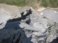 Rock Climbing Photo: Looking down at Unicorn Pinnacle from the low 5th ...