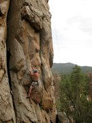 Rock Climbing Photo: At the 2nd bolt on One Armed Bandit (5.10a), Holco...