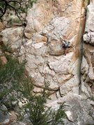 Rock Climbing Photo: Starting up Claim Jumper (5.10a), Holcomb Valley P...