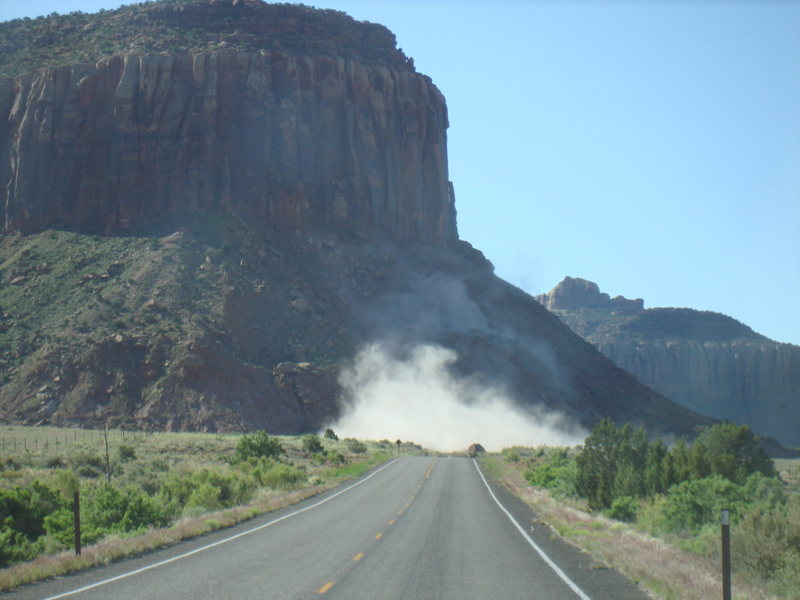Happened upon this rock fall just as the dust was settling. May 25, 2010.
