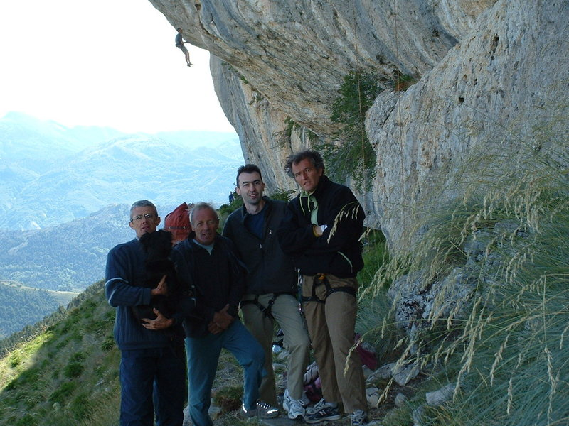 At the base of Gelati dolomiti(rope hanging in the back)