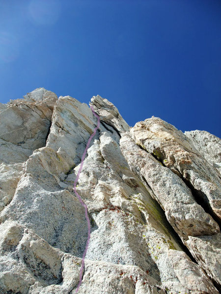 Rock Climbing Photo: The 5.9(?) variation off the P3 belay (P2 per Supe...