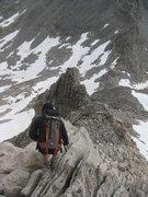 Rock Climbing Photo: Descending the NE Ridge to escape the storms.
