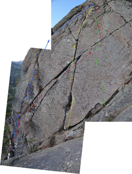 1. Left Offwidth, 5.7<br> 2. Prime Real Estate Crack, 5.7+<br> 3. Bone Crack, 5.7<br> 4. Blank Face, 10c (R) (TR).