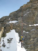 Rock Climbing Photo: Aaron rappelling the notch, Mt.Bancroft East Ridge...