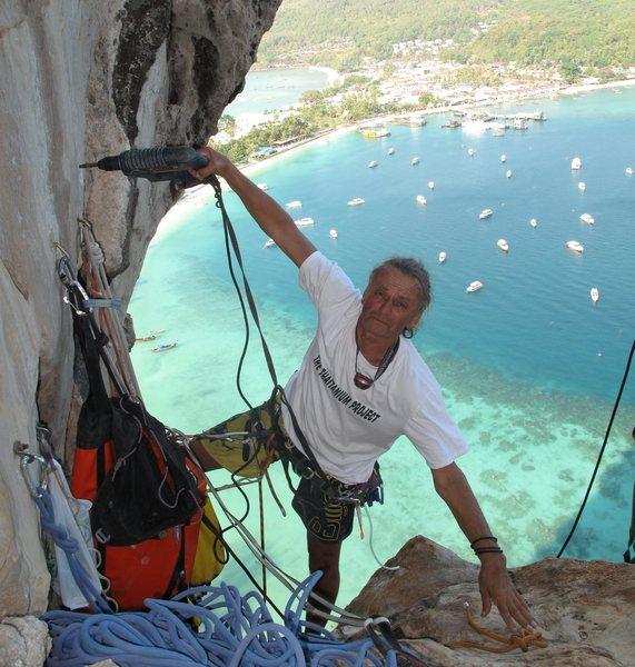 """Rock Climbing Photo: Shamick Byszewski rebolting """"Rev de Phi Phi D..."""