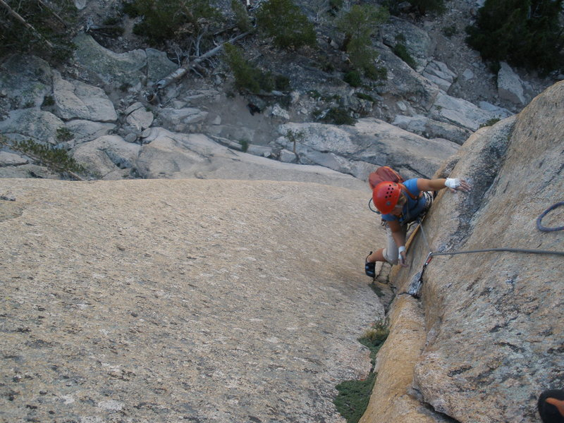 Rock Climbing Photo: Annie following the intense 1st crux pitch.