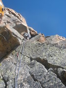 Rock Climbing Photo: Court leading the last pitch. The awkward slot is ...