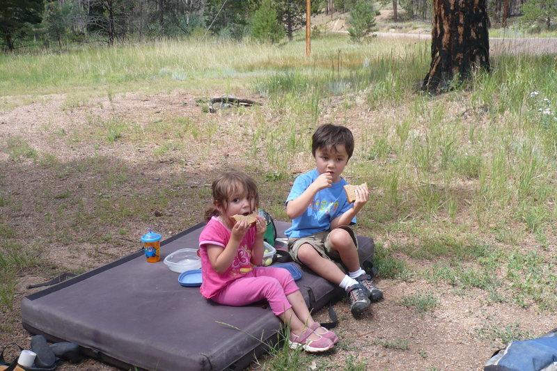 Crash pads make a good place for picnics.