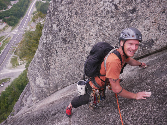 "Climbing ""Diedre"" in Squamish July, 2010."