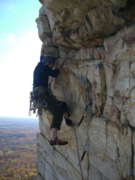 Rock Climbing Photo: With the left hand on the jug, the short but pumpy...