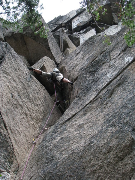 Rock Climbing Photo: Warming up the muscles on an unnamed 5.10a, Sporty...