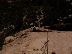 Rock Climbing Photo: Jesse Patchett at the belay ledge at the top of Pi...