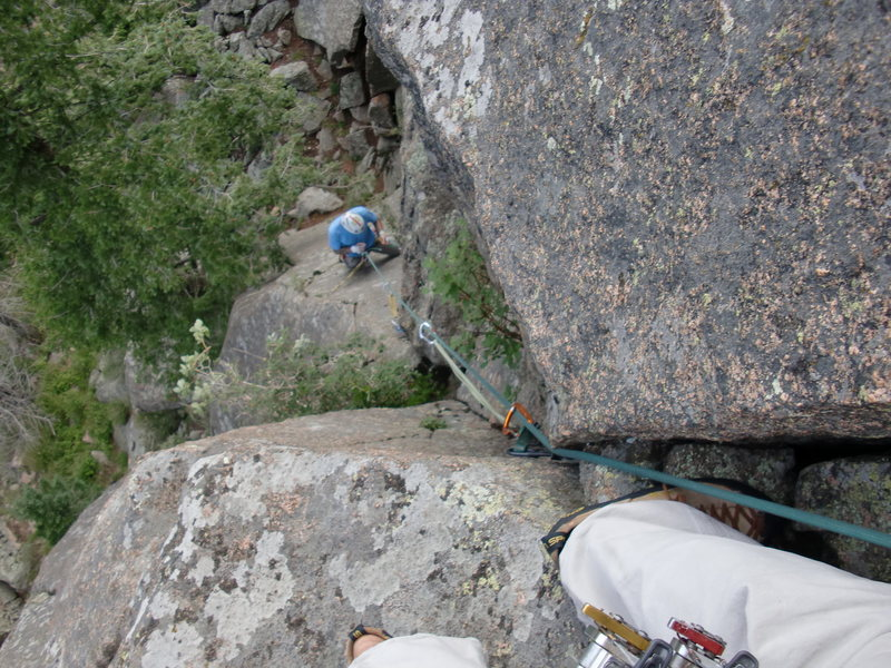 Rock Climbing Photo: Looking down the 1st pitch.