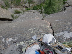 Rock Climbing Photo: Looking down the 2nd pitch.