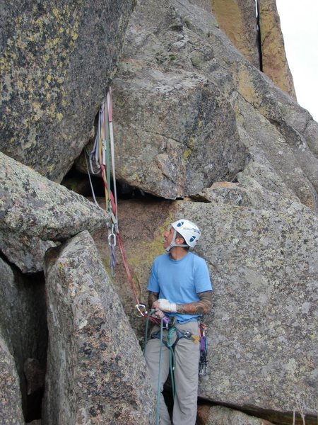 Rock Climbing Photo: Mike Keegan at pitch 2 anchor.