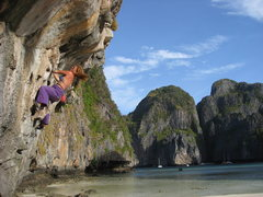 Rock Climbing Photo: Judy bouldering at Maya Bay