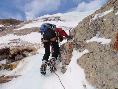 Climbing West Gully. Photo by Kevin Landolt.