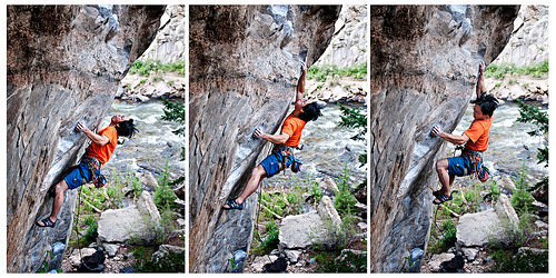 Kai Huang hiking the crux on Ken T'Anks.