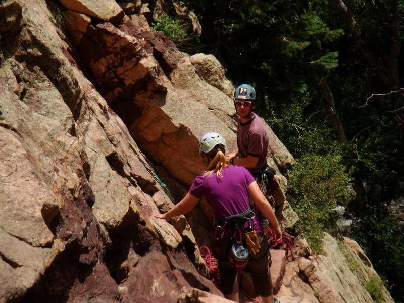 on the Wind Tower in Eldorado Canyon. Chris and Lynette