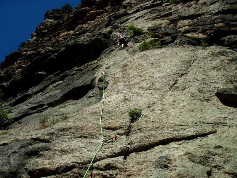 First pitch of Solid Gear/Playin Hooky in Clear Creek Canyon. <br> <br> Didn't finish due to swollen feet, feet pains