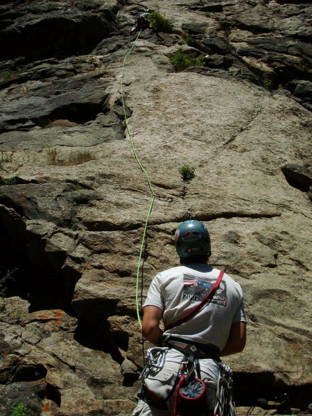 Rock Climbing Photo: Leading first pitch of Solid Gear/Playin' Hooky. D...