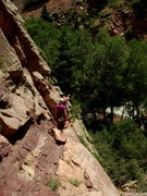 Rock Climbing Photo: Chris setting up for the first pitch of a route on...