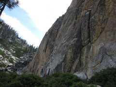 Rock Climbing Photo: The steep, 350 foot tall and beautifully yellow-st...