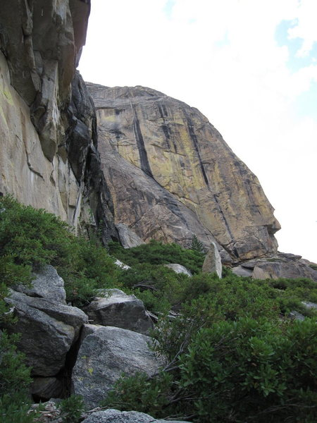 The beautiful streaked southeast face of High Eagle Dome from the base of Aerie Dome.