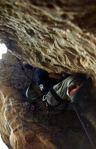 Leading the second pitch overhang of Tunnel Route (5.5) in 1995