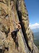 Rock Climbing Photo: Sussing out the crux on Shangri La.