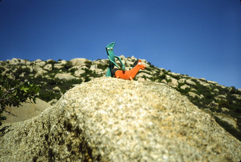 Gumby and Pokey enjoying themselves at Mt Woodson.<br> <br> Action figures and lewd positioning courtesy of Dave Vaughan.