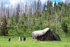 Rock Climbing Photo: Walk across the field to approach the boulder. The...