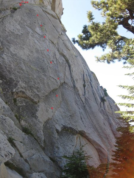 Rock Climbing Photo: Shoulder Hopper with approximate bolt locations.