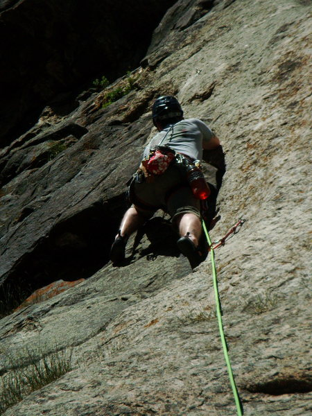 Rock Climbing Photo: Leading the first pitch of Solid Gear/Playin' Hook...