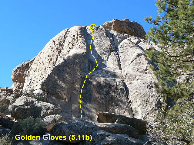Golden Gloves (5.11b), Holcomb Valley Pinnacles