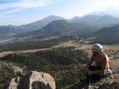 Rock Climbing Photo: Tanya Chupa tops out on Organ Pipes and enjoying t...